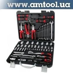 """Комплект инструмента, 87 предметов Набор головок и аксессуаров 1/4 и 1/2"""", пластиковый ящик. AMTOOL (AmPro)."""
