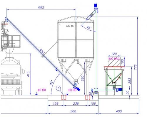 Комплект по перегрузке цемента из БИГ БАГов в цементный силос 60 тонн. Сроки поставки: 5-6 недель.
