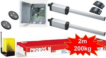 Комплект приводов для распашных ворот со створкой до 1,8м (вес 250 кг), интенсивность 50% BFT PHOBOS N BT KIT