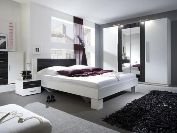 Комплект спальни Vera (Вера) №1: шкаф 4-х дверный, кровать 2 прикроватные тумбы , комод Цвет: белый/черный