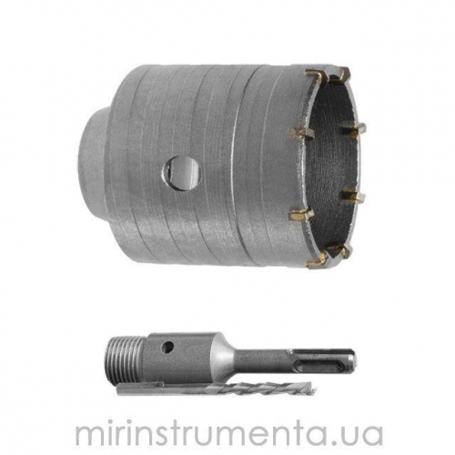 Комплект: сверло корончатое по бетону 75мм+Переходник SDS Plus 100мм INTERTOOL SD-7075