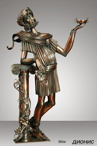 Композиция Бахус. Скульптура из листовой меди. Выс.60см. Материал - медь, мрамор.