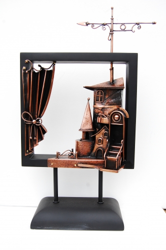 Композиция Городок Скульптура из листовой меди. Выс.50см. Материал - Дерево, медь.