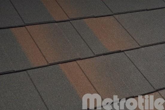 Композитная металлочерепица Metroshingle Black-Brown 1335x300 мм