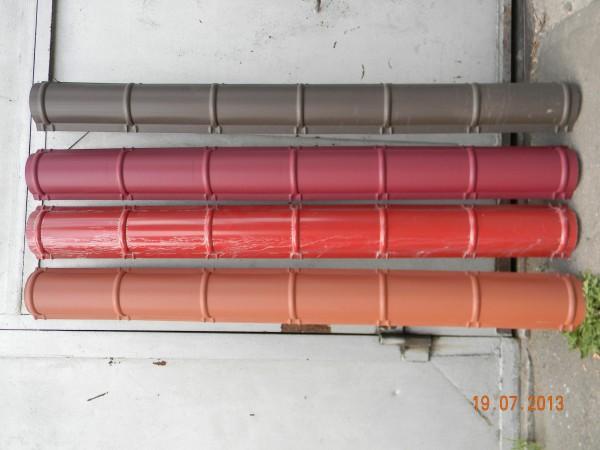 Конек для металлочерепицы полукруглый, все цвета, длина 2м, ширина 18см, металл 0,5мм мат, полиэстор