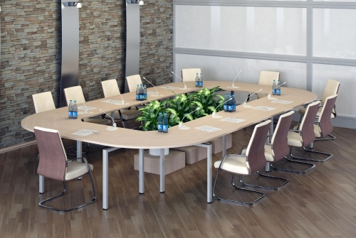 Конференц-стол, габаритный размер 4750х2750х750h, глубина столов 720мм.