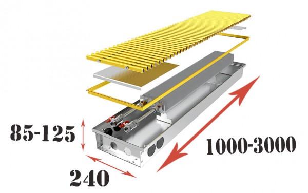 Конвектор внутрипольный КПЕ 240 с естественной конвекцией