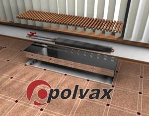 Конвектор внутрипольный POLVAX серии КVМ-D с принудительной конвекцией (двумя теплообменниками и дренажом)