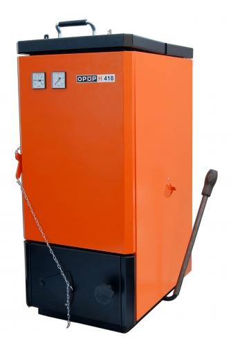Котел на твердом топливе Н418 - 18 кВт ( дрова, уголь, брикеты), трёхходовой теплообменник, система защиты от перегрева