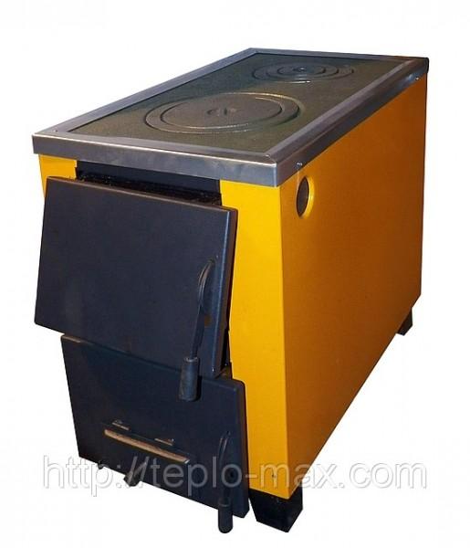 Котел-печь КОТВ-17,5 твердотопливный, с варочной поверхностью на 2 конфорки.