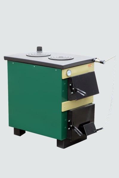 Котел- плита Тивер с двокамфорной плитой, мощность 24 кВт. Котел оборудован термостатическим регулятором тяги.