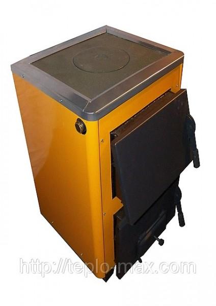 КОТВ-12П твердотопливный котел Огонек с плитой для приготовления пищи мощностью 12 кВт.