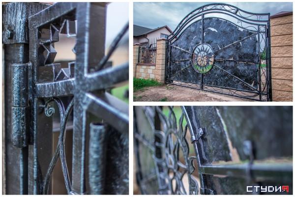 Кованые автоматические распашные ворота изготовление и установка в Днепропетровске