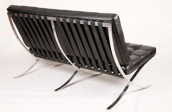Кожаный диван, черный , 2 местный