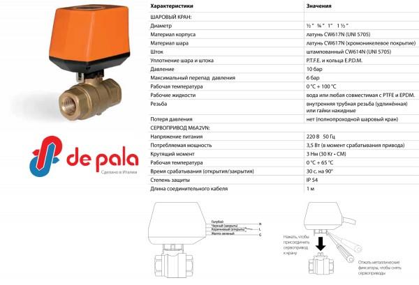 """Кран шаровый с электроприводом DePala 220B 1/2"""" D"""