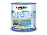 Фото  1 Краска для бассейнов Kompozit АК-12 полуматовая 2,8 л голубой 2038860