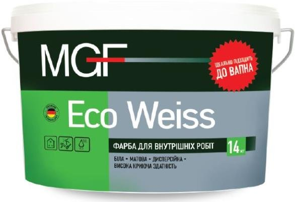 Краска для внутренних работ ECO WEISS белая • матовая • дисперсионная • высокая укрывистость 14кг