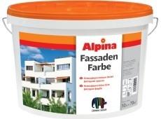 Краска водоэмульсионная фасадная Alpina FASSADENFARBE. Колеруется вручную во множество цветов колорантами Alpina Kolor.
