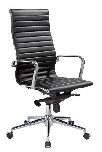 Кресло АЛАБАМА Hight, Высокая спинка, сидение - прошитый белый, черный кожзам, мультиблок, хромированная фурнитура