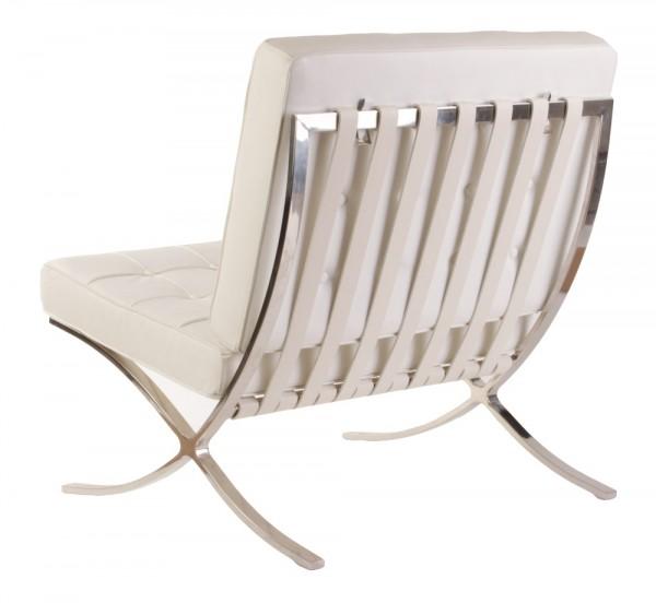 Кресло Барселона, кожа белая