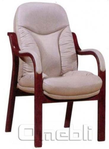 Кресло Буффало CF Комбинированная кожа Люкс Leather Бежевая подлокотники орех A7286