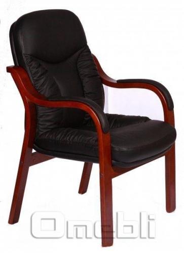 Кресло Буффало CF Комбинированная кожа Люкс Leather Черная подлокотники орех A7282