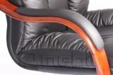 Кресло Буффало HB Комбинированная кожа Люкс Leather Бежевая подлокотники орех A7280