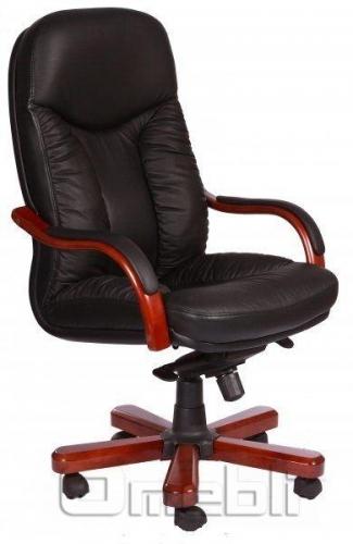 Кресло Буффало HB Комбинированная кожа Люкс Leather Черная подлокотники орех A7276