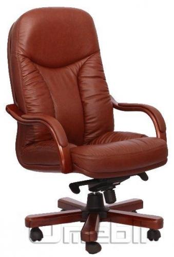 Кресло Буффало HB Комбинированная кожа Люкс Leather Коричневая подлокотники орех A7278