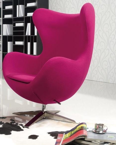 Креслодизайнерское Эгг, для дома, розовая ткань