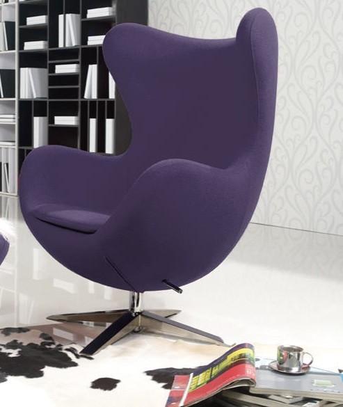 Кресло для дома мягкое ЭГГ, ткань фиолетовая