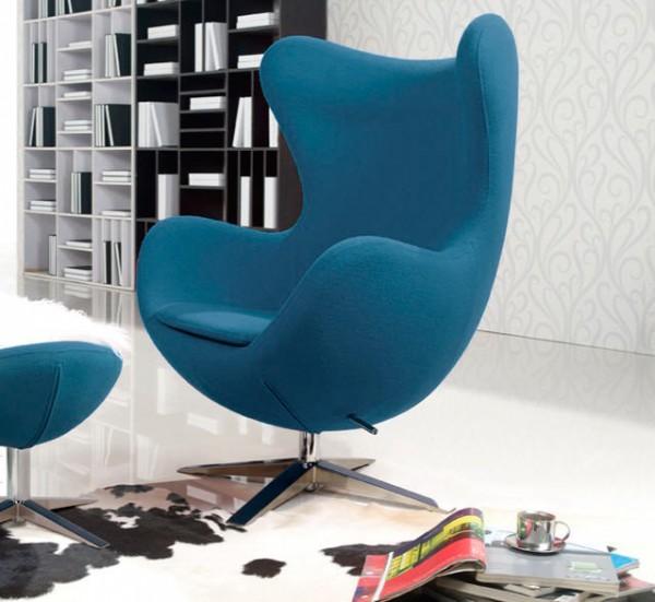 Кресло дизайнерское ЭГГ, ткань синяя