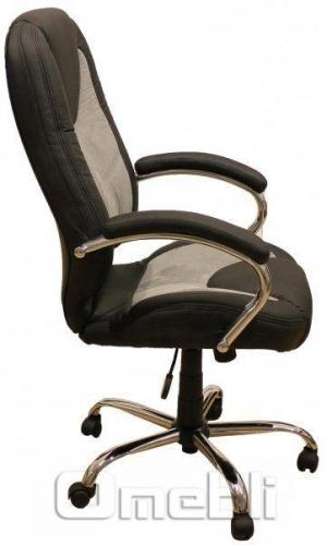 Кресло Каир НВ серебряная микрофибра Кожзам черный A7308