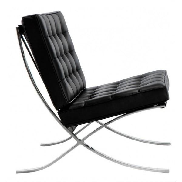 Кресло кожаное Барселона, кожа черная