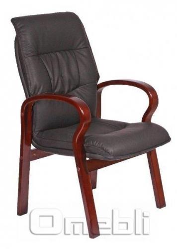 Кресло Лондон CF Кожзам черный подлокотники орех A7352