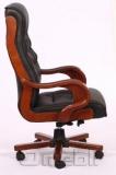 Кресло Президент HB 02 Кожзам черный подлокотники орех A7300