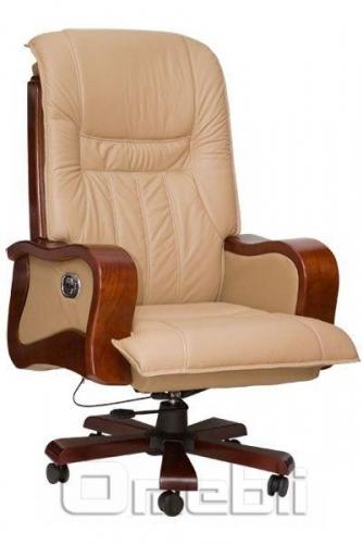 Кресло Президент HB 03 Комбинированная кожа Люкс Leather Бежевая подлокотники орех A7298