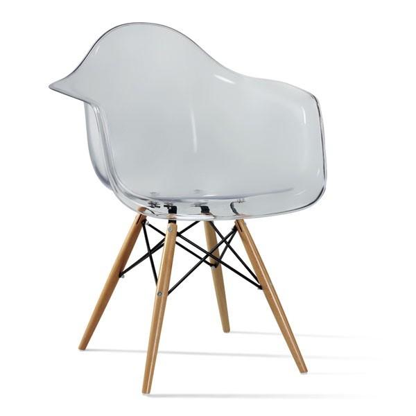 Кресло Тауэр Вуд, прозрачный акрил, ножки цвет венге