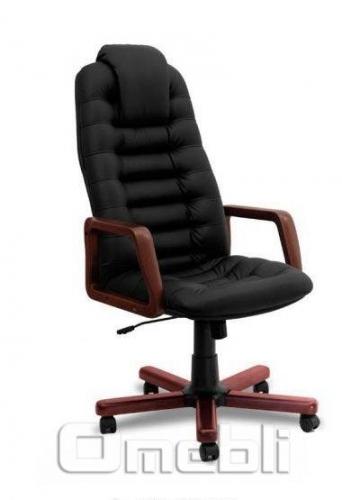 Кресло Тунис EXTRA Неаполь Черный N 20 подлокотники орех A6224