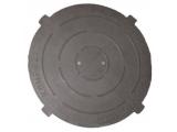 Фото  1 Крышка легкого люка полимерпесчаная черная Д- 630 мм 1941956