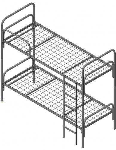 Кровать двухъярусная металлическая, сетка сварная 4мм