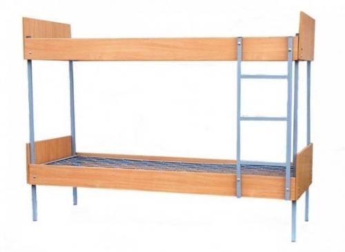 Кровать двухъярусная металлическая со спинками и царгами из ЛДСП, плоскопружинная сетка