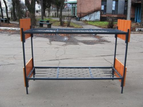 Кровать двухъярусная металлическая со спинками из ЛДСП, ромбическая сетка