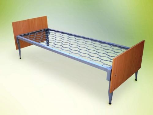 Кровать металлическая со спинками из ЛДСП, плоскопружинная сетка