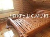 Фото 1 кровать деревянная из оцилиндрованного бруса 338458