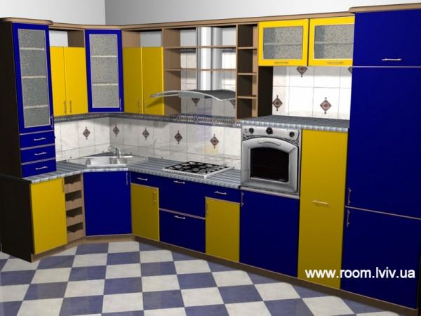 Кухнонний гарнітур, кутовий. Плівочні фасади. Стільниця - постформінг. Фурнітура Хетіх Web: www. room. lviv. ua