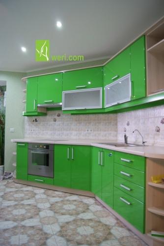 Кухня с крашенными глянцевыми МДФ фасадами от Aweri Материал фасадов - МДФ19мм крашеный