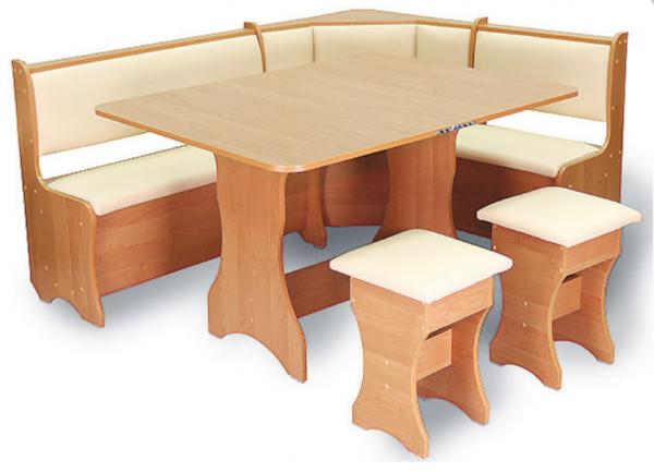 Кухонный уголок. Стол h = 740мм столешница сложена / разложена: 590 х 900 / 1180 х 900