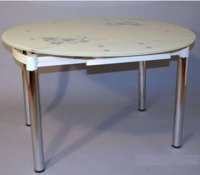 Купить круглый стеклянный стол B812 кремовый, серый, красный для кухни купить Киеве