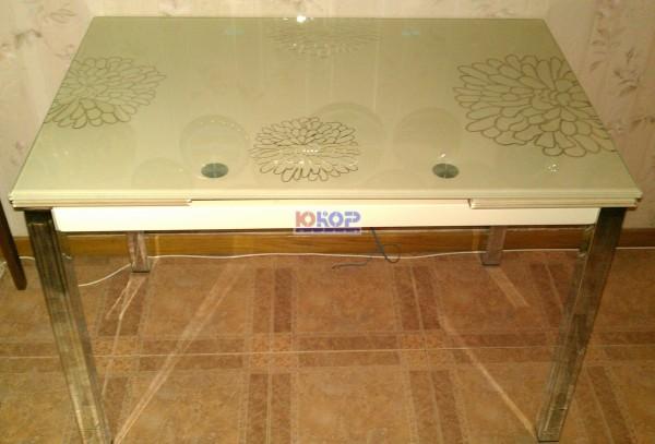 Купить недорогой качественный стол TB017-26 из стекла кремовый, черный, стол на кухню купить
